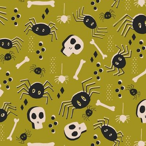 Vintage Halloween Skulls Bones and Spiders, Green