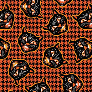 Halloween Cat Houndstooth