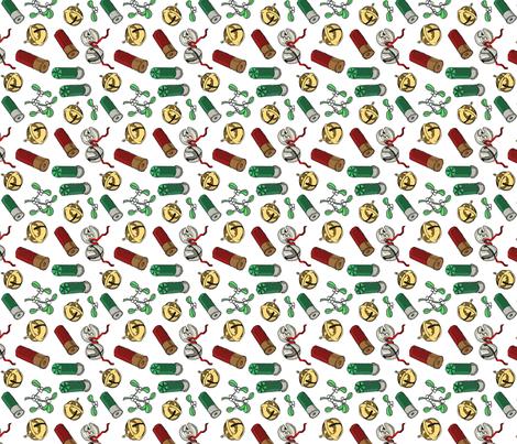 Jingle_bells_shotgun_shells_mistletoe_tea_towel fabric by leroyj on Spoonflower - custom fabric