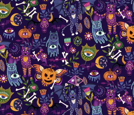 Mystic Halloween Sepia fabric by nellik on Spoonflower - custom fabric