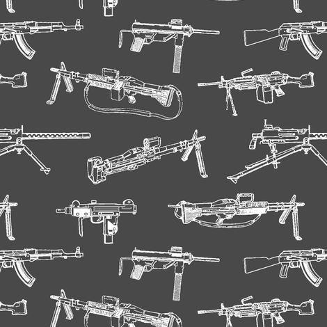 Machine Guns on Charcoal // Small fabric by thinlinetextiles on Spoonflower - custom fabric