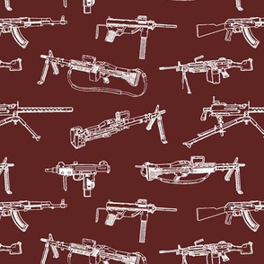 Machine Guns on Maroon // Small