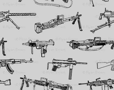 Machine Guns on Grey // Small