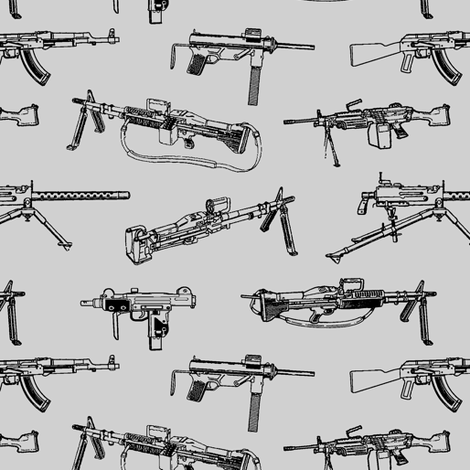 Machine Guns on Grey // Small fabric by thinlinetextiles on Spoonflower - custom fabric