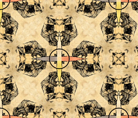 Black Bison With Medicine Wheels fabric by linda_baysinger_peck on Spoonflower - custom fabric