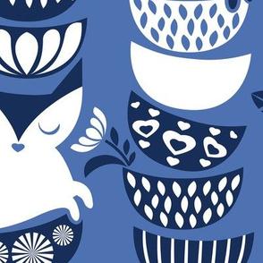Swedish folk cats // large scale // indigo blue background navy & white flowers bowls & cute kitties