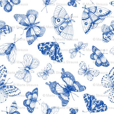 Blue dot art butterflies