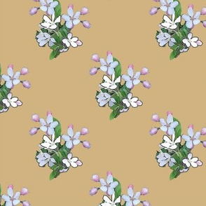 Apple Blossoms on Gold Upholstery Fabric