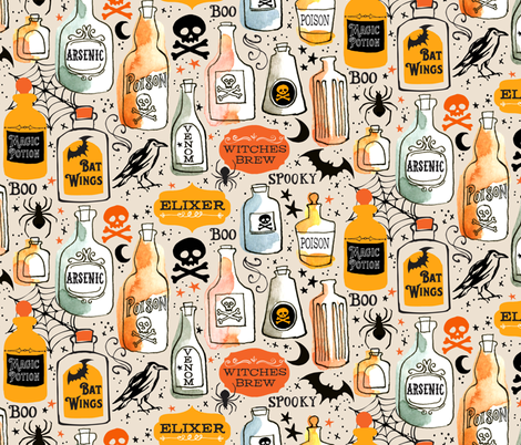 Vintage Potions fabric by ohn_mar on Spoonflower - custom fabric