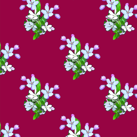 Apple Blossoms on Red Upholstery Fabric fabric by llukks on Spoonflower - custom fabric