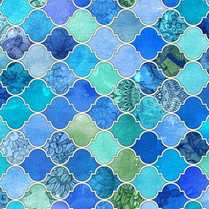 Cobalt Blue and Aqua Decorative Moroccan Tiles Rotated