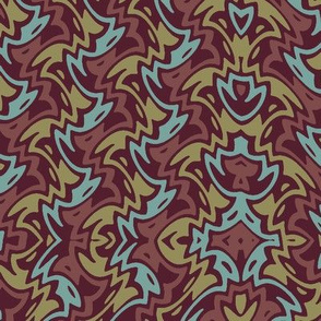 Art Deco zigzag on dark red