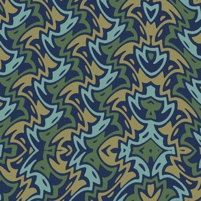 Art Deco zigzag on navy