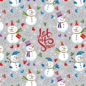 Festive Snowmen - Grey