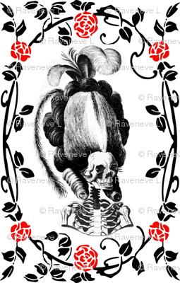 23 Marie Antoinette french France Queen Empress poufs skulls skeletons Victorian elegant gothic lolita Princess roses flowers floral leaves leaf vines Baroque Rococo borders frames medallions tendrils  morbid macabre scary parody caricature egl