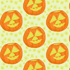 Jolly Jack O'Lanterns on Icy Neutral - Medium Scale