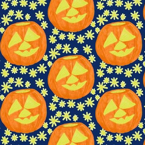 Jolly Jack O'Lanterns on Dark Blue