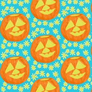 Jolly Jack O'Lanterns on Light Blue