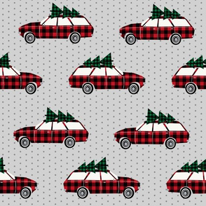 christmas wagon plaid christmas trees christmas fabric vintage retro christmas cars christmas trees on cars - LARGE VERSION