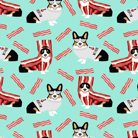 tri colored corgi fabric corgis love bacon fabric design cute dog costume halloween fabric by petfriendly on Spoonflower - custom fabric