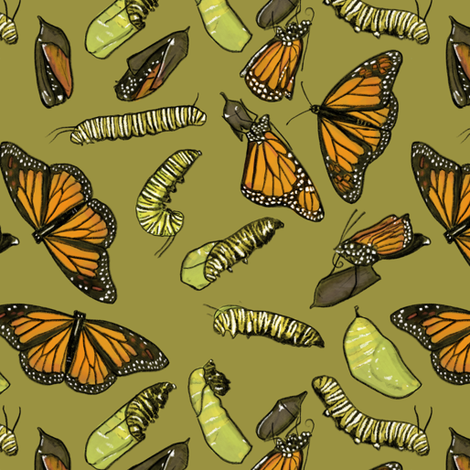 Monarch Butterflies and Caterpillars on Olive Green fabric by landpenguin on Spoonflower - custom fabric
