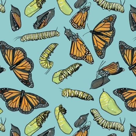 Monarch Butterflies and Caterpillars on Light Blue fabric by landpenguin on Spoonflower - custom fabric