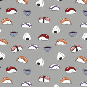 kawaii sushi grey