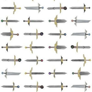 Bubbie's swords in a line - small