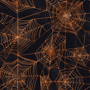 Keep Spinning in Orange // halloween spooky spider web classic orange and black fabric