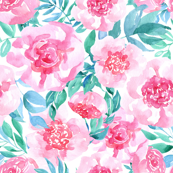 Watercolor pink flowers roses gren leaves