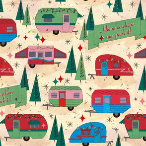 Campers- vintage in red, blue, green