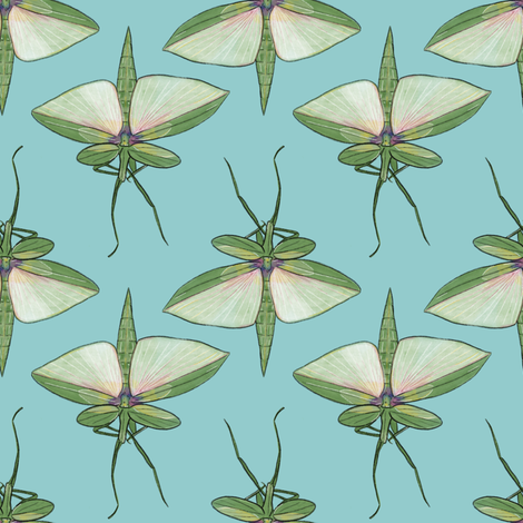 Stick Insects on Light Blue fabric by landpenguin on Spoonflower - custom fabric