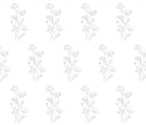 Queen Anne's Lace Gray on White fabric by dgfabricdesign on Spoonflower - custom fabric