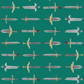 Bubbie's swords in a line - small on spruce green