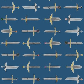 Bubbie's swords in a line - small on marine blue