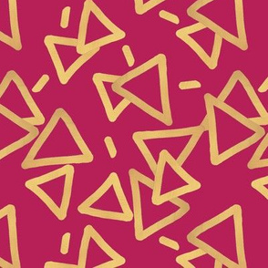 Tossed Gold Foil Triangles on Fuchsia Upholstery Fabric