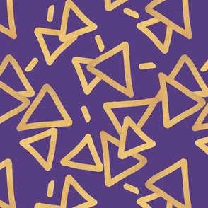 Tossed Gold Foil Triangles on Purple Upholstery Fabric