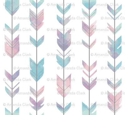 Small Arrow Feathers -PALE  pastel watercolor