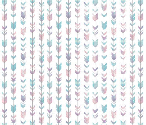 Small Arrow Feathers -PALE  pastel watercolor fabric by sugarpinedesign on Spoonflower - custom fabric