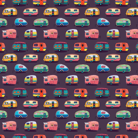 Happy camper small size fabric by penguinhouse on Spoonflower - custom fabric