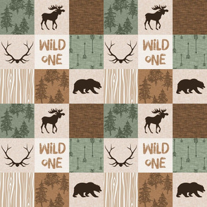 "3"" Wild One Quilt - green and brown - moose, bear, antlers, hunting camo"
