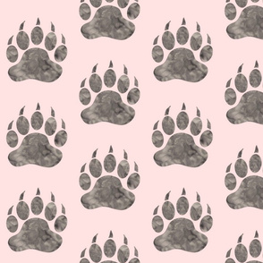 """5"""" Grey on pink watercolor Bear paws"""