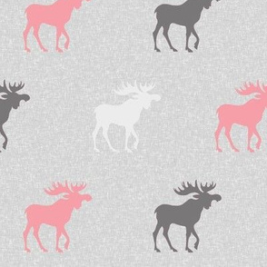 Moose on Linen- pink, grey and white