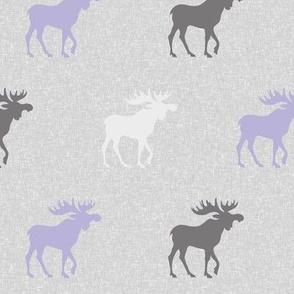 Moose on Linen- lavender, grey, white