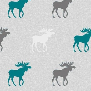 Moose on Linen - teal, grey and white