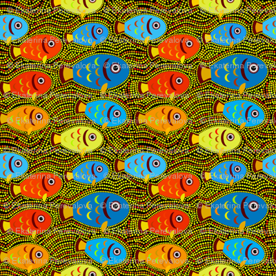 Pointillism fish pattern