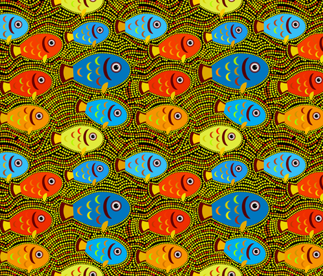 Pointillism fish pattern fabric by ekaterinap on Spoonflower - custom fabric