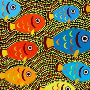 Pointillism fish pattern