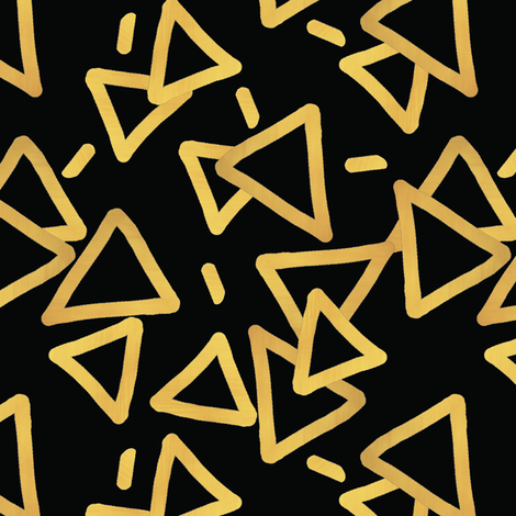 Tossed Gold Foil Triangles On Black Upholstery Fabric Fabric
