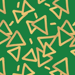 Tossed Gold Foil Triangles on Green Upholstery Fabric